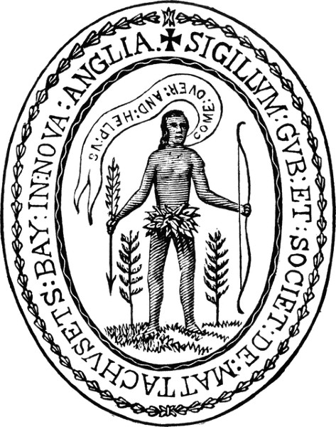 """1629 Massachusetts State seal, featuring an outdated image of a Native person holding a bow and a shaft of wheat with a thought bubble that says """"come over and help us"""""""