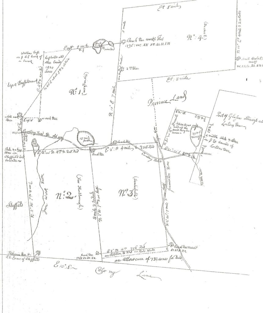 1737 Map of Township Number 1, hand drawn