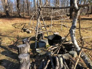 Bidwell House Museum, Fire Pit to boil sap for maple syrup