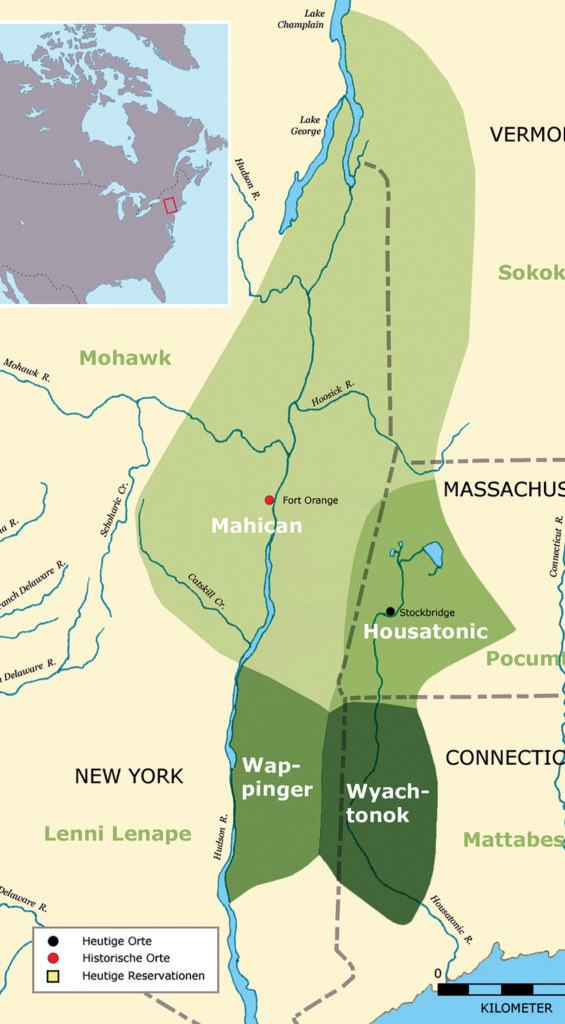 Map of Mohican Territory from Lake Champlain down through New York, Massachusetts and Connecticut.