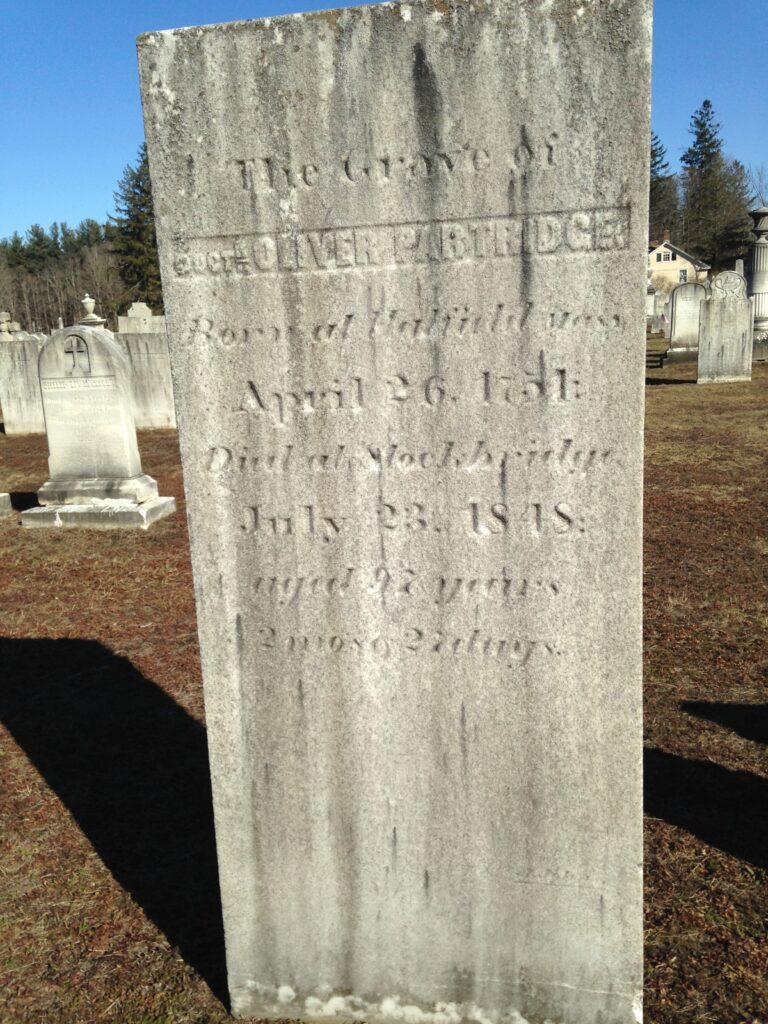 Dr. Oliver Partridge's gravestone in Stockbridge