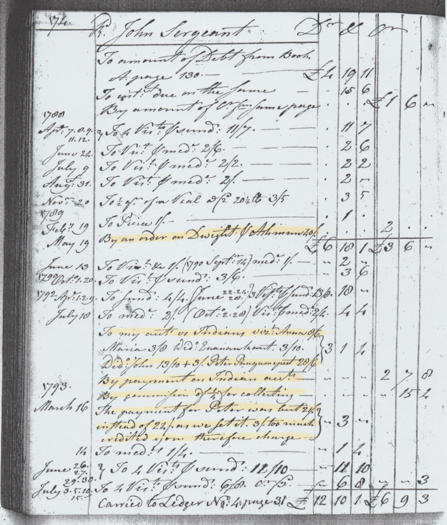 A page from Dr. Partridge's Ledger # 2 for Rev. John Sergeant, Jr., some of which involves treatment of several members of the Mohican community still living in Stockbridge in the 1790s.