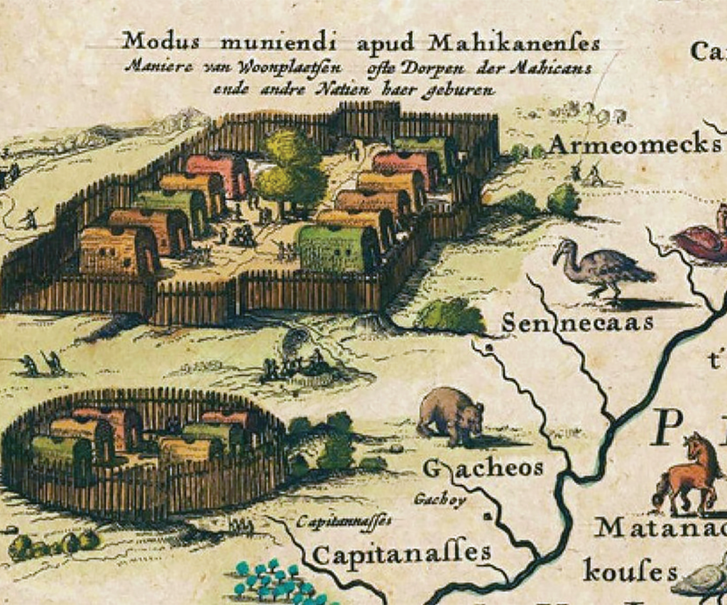 Old Dutch map of a walled in Mohican village