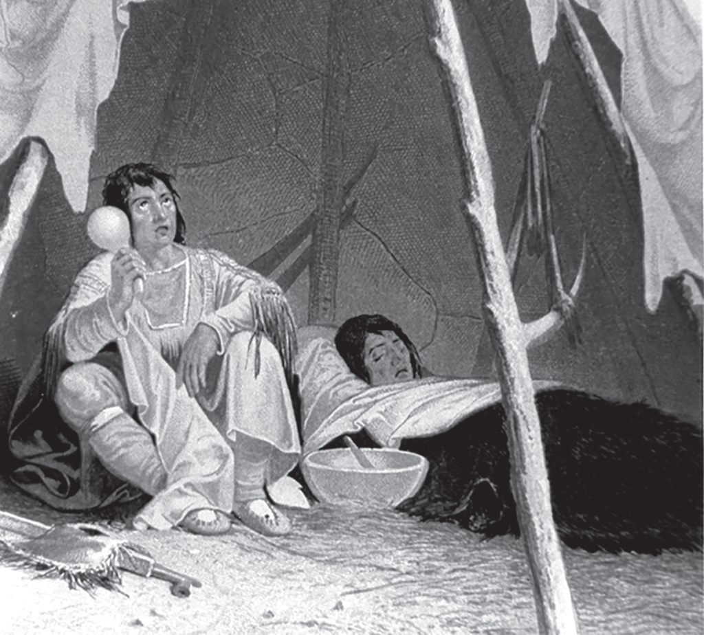 Image of two Native peoples, one speaking/singing the other laying down looking sick